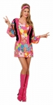 Hippiekleid Flower Mottoparty 70er Minikleid 34 36 38 40 42 44 46